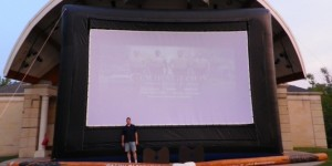 How about a little perspective.  It is hard to imagine how large the 25' x 15' screen without being there.  This ia a picture of me @6' 4